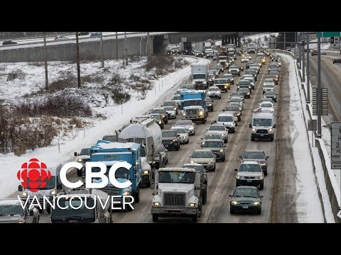 Snow And Ice Slow Traffic On Highway 1 In B.C.