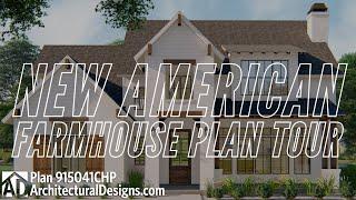 4 Bedroom New American Farmhouse House Plan 915041chp - Interiors & Exterior 360° Adhouseplans