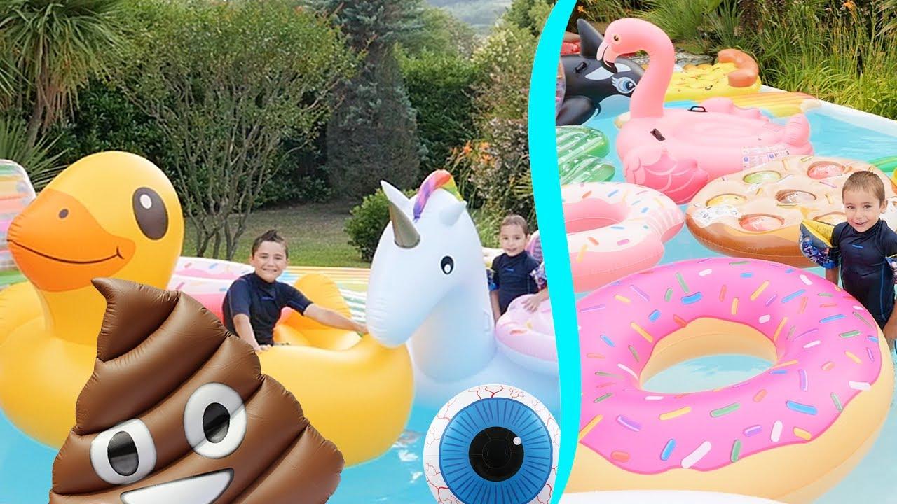 On remplit la piscine de jeux gonflables g ants canard for Swan et neo piscine