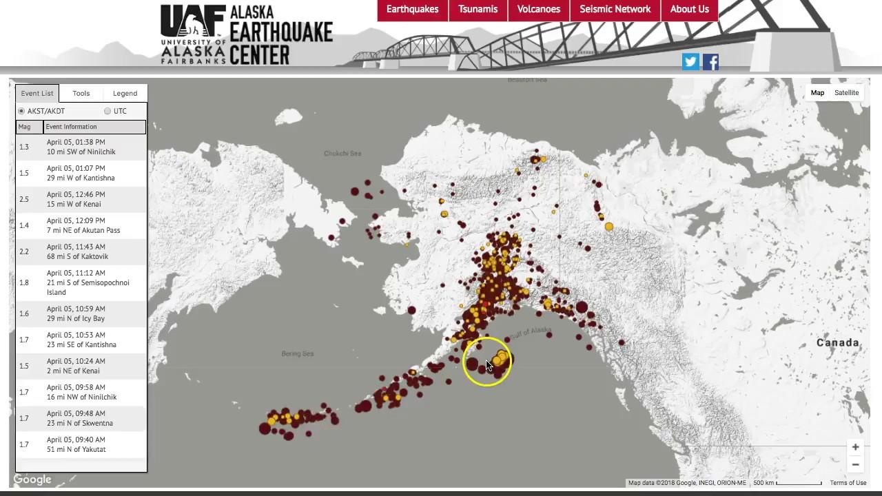 Alaska Earthquake Center S Recent Earthquake Map Youtube