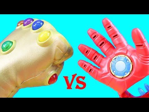 Infinity Gauntlet Vs. Iron Man Repulsor Gloves + DC Imaginext & Marvel Infinity War Battle