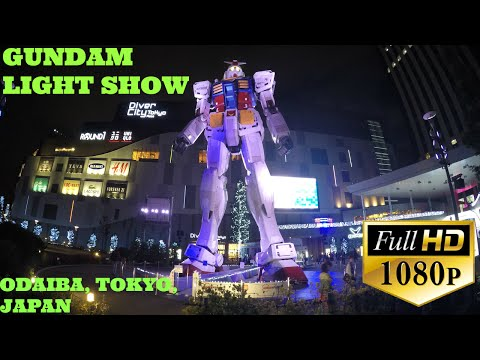 Full scale Gundam nightly show at Diver City Plaza Odaiba, Tokyo, Japan