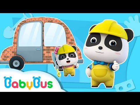 Baby Panda Pretend Play Building a Car House | Doctor Song, Firefighter Song| Panda Cartoon |BabyBus