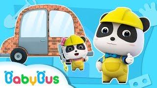 Baby Panda Pretend Play Building a Car House   Doctor Song, Firefighter Song  Panda Cartoon  BabyBus