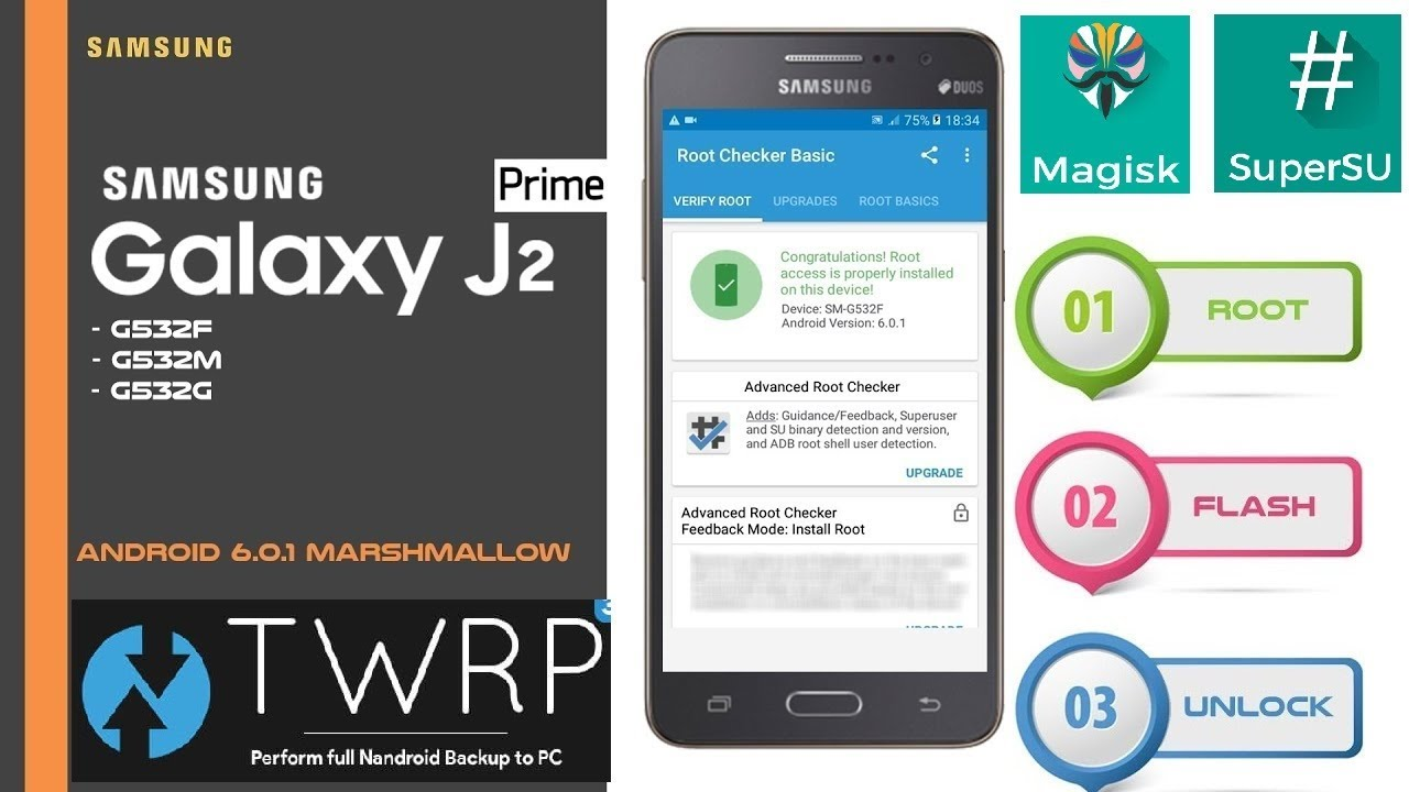 How To Root and Install TWRP in Samsung Galaxy J2 Prime (SuperSU and Magisk  manager)Series