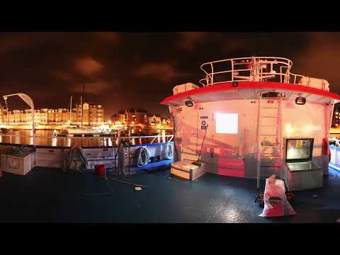 work boat 360 view at night in harbour