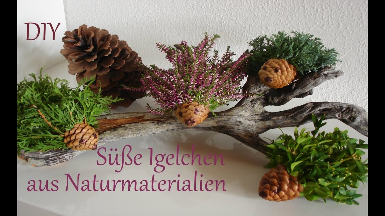 diy herbstdeko kleine igelchen aus naturmaterialien basteln mit kindern just deko youtube. Black Bedroom Furniture Sets. Home Design Ideas
