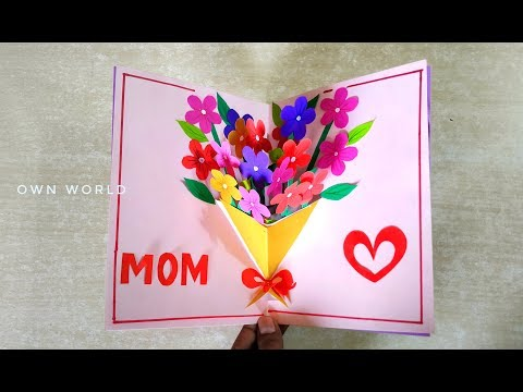 Handmade Mother's Day card / Mother's Day pop up card making- flower bouquet pop up card