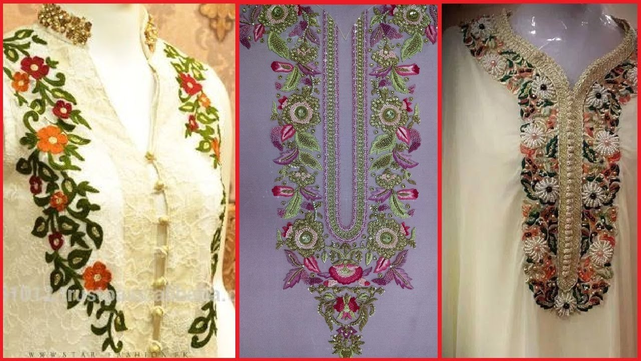 Latest Trendy Hand Embroidered Neck Designs Hand Embroidery Ideas