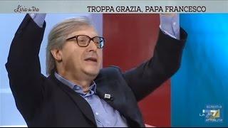 """Sgarbi Show: """"Se hai un comunista troppo papalino come Vauro il Papa s'incazza"""""""