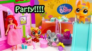 LPS We Love To Party Playset Bobbleheads Set Littlest Pet Shpo Shopkins Disney Ariel Toy Unboxing