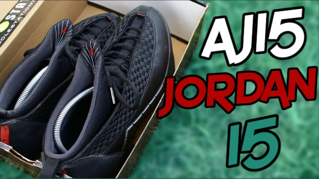 air jordan 15 stealth on feet
