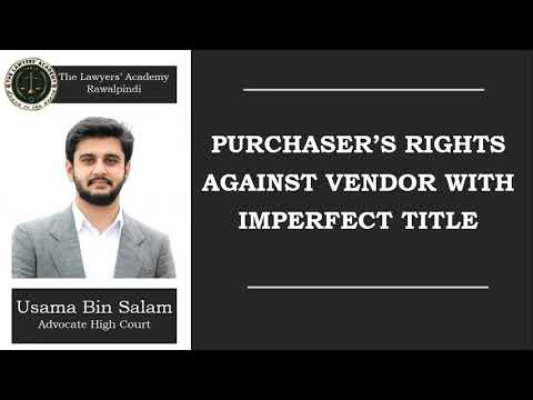 Purchaser's Rights Against Vendor With Imperfect Title