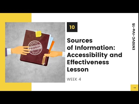 SOURCES OF INFORMATION: ACCESSIBILITY AND EFFECTIVENESS LESSON | ENGLISH 10 | WEEK 4