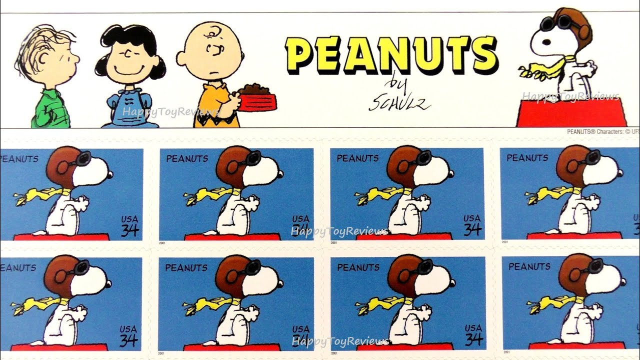 USPS PEANUTS SET OF 20 COMMEMORATIVE STAMPS US TOYS SNOOPY 2001 CHARLES M SCHULZ REVIEW