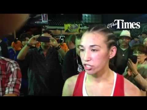 Boxer Jennifer Han talks after her decision win on Saturday in El Paso