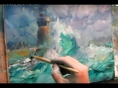 Oil painting. Lighthouse and waves.