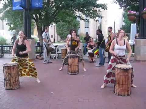 African drummersdancers  Summer Friday night on Pearl Street Mall, Boulder