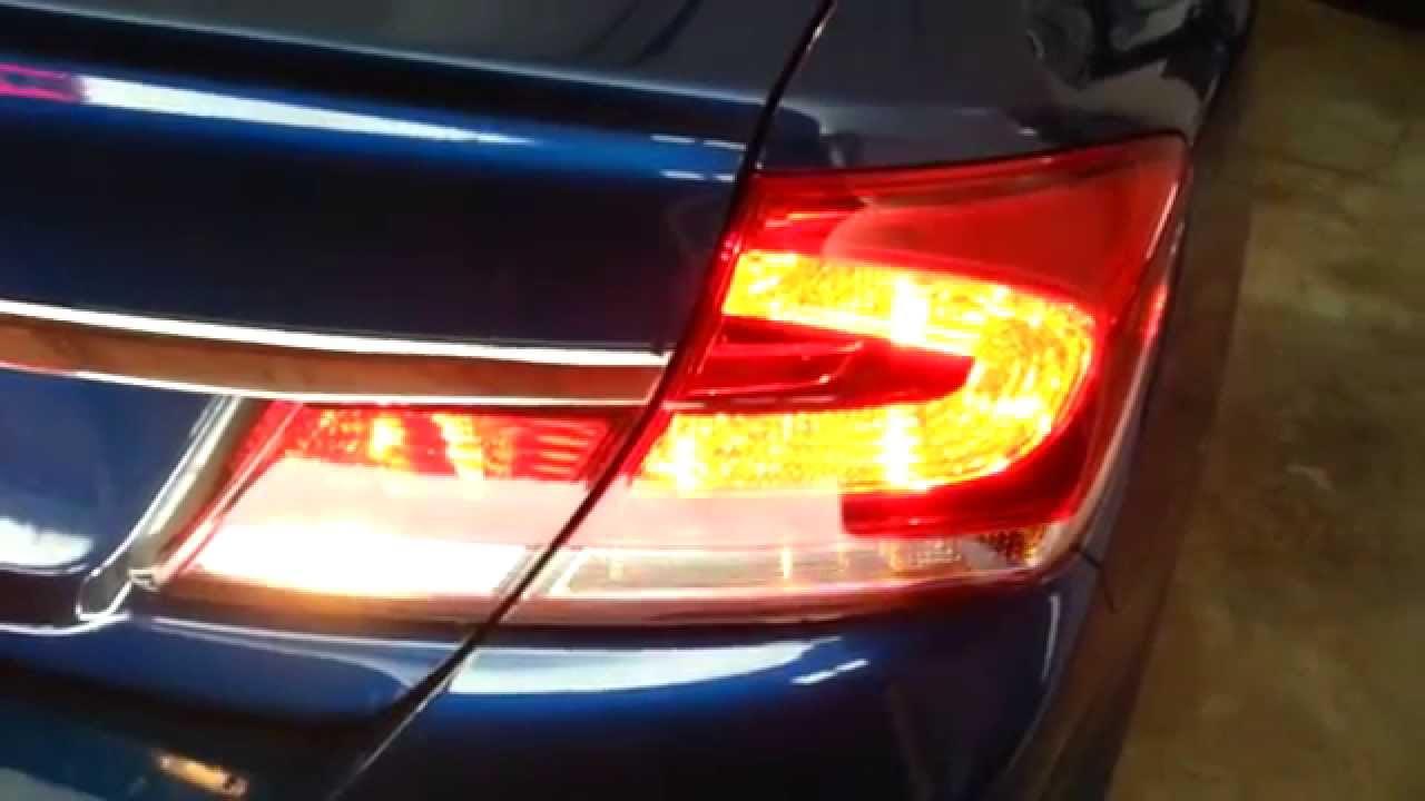 2013 Honda Civic LX Sedan   Testing Tail Lights After Changing Bulbs    Brake, Turn, Reverse   YouTube