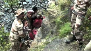 Uttarakhand flood survivors being rescued by ITBP jawans
