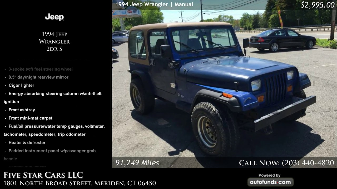 hight resolution of used 1994 jeep wrangler five star cars llc meriden ct