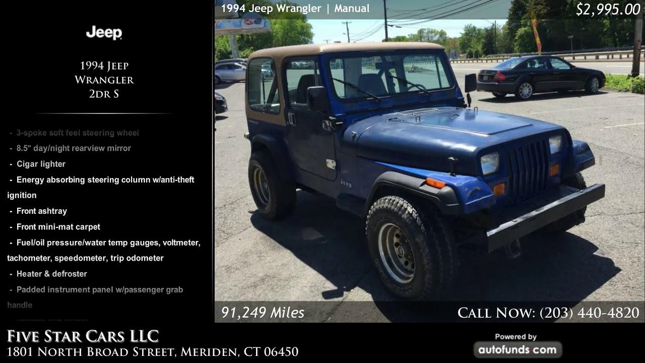 used 1994 jeep wrangler five star cars llc meriden ct [ 1280 x 720 Pixel ]