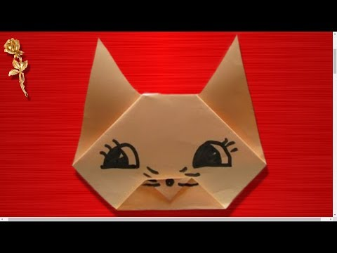 Origami facile t te de chat youtube - Origami rose facile a faire ...