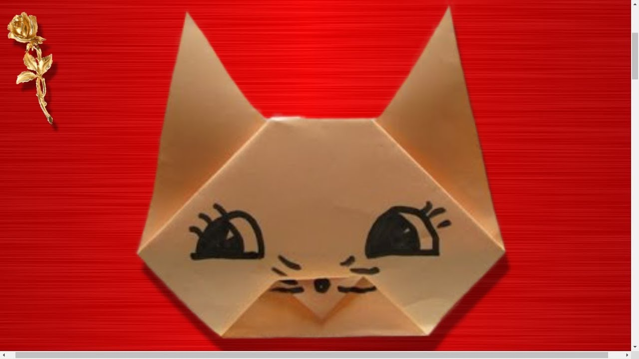 Origami Facile Tête De Chat Youtube