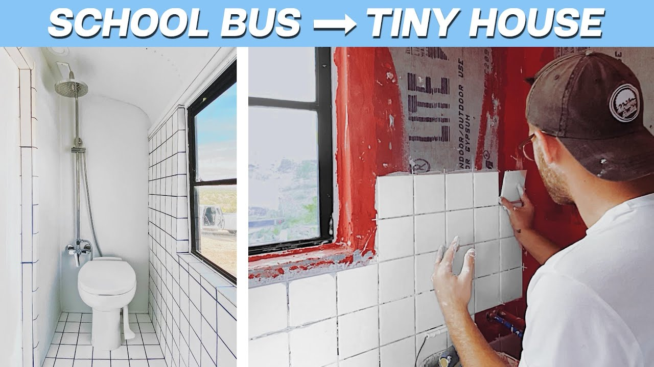 EP. 3: THE BATHROOM | DIY SCHOOL BUS TINY HOUSE CONVERSION | MODERN BUILDS
