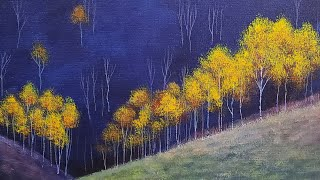 Easy Yellow Trees Landscape Acrylic Painting LIVE Tutorial