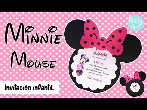 Minnie Mouse Invitacion Infantil Diy Party Pop