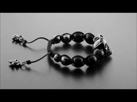 Designer Skull bead shamballa bracelet with silver and onyx beads by ©CHULYAKOV NEW YORK