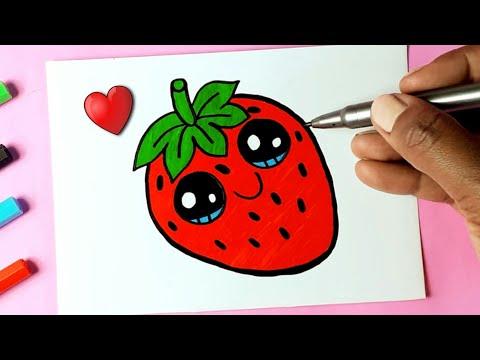 Como Desenhar Fruta Morango Fofo Kawaii Desenhos Bonitos