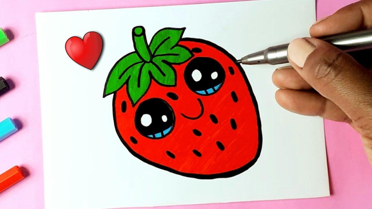Como Desenhar Fruta Morango Fofo Kawaii Desenhos Bonitos Desenho Para Desenhar