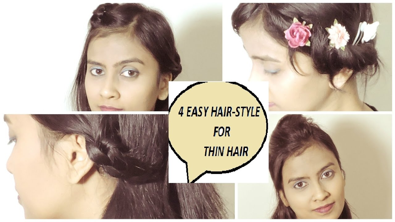 4 EASY HAIRSTYLES FOR THIN & SHORT HAIR - YouTube