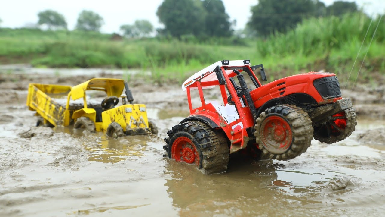 Makwana Metal Tractor Stuck in Deep Mud Pulling Out Bruder Tractor | Jcb Mud Loading Tractor| CsToy