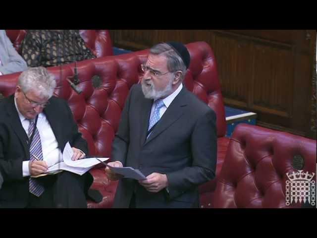 Chief Rabbi Lord Sacks speaks on the contributions of faith communities