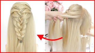 Легкая прическа для длинных волос Коса из 3 прядей Французская коса