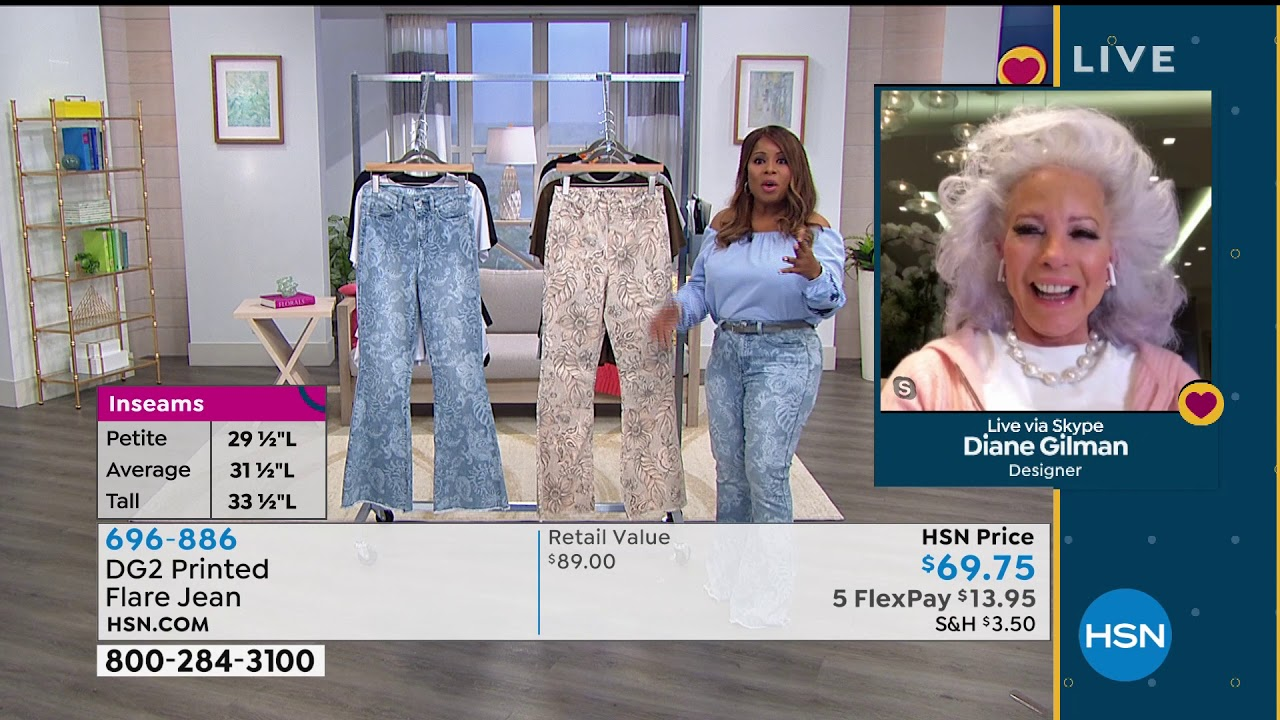 Dg2 By Diane Gilman Printed Flare Jean Youtube
