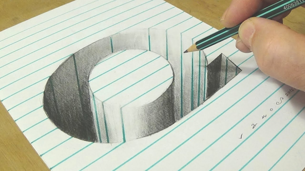 Drawing Q Hole in Line Paper  3D Trick Art with Graphite