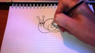 Простые рисунки #13. Как нарисовать УЛИТКУ .(Как нарисовать простой рисунок обычной гелевой ручкой за несколько минут. Спасибо, что смотрите мои видео...., 2013-05-19T15:18:08.000Z)