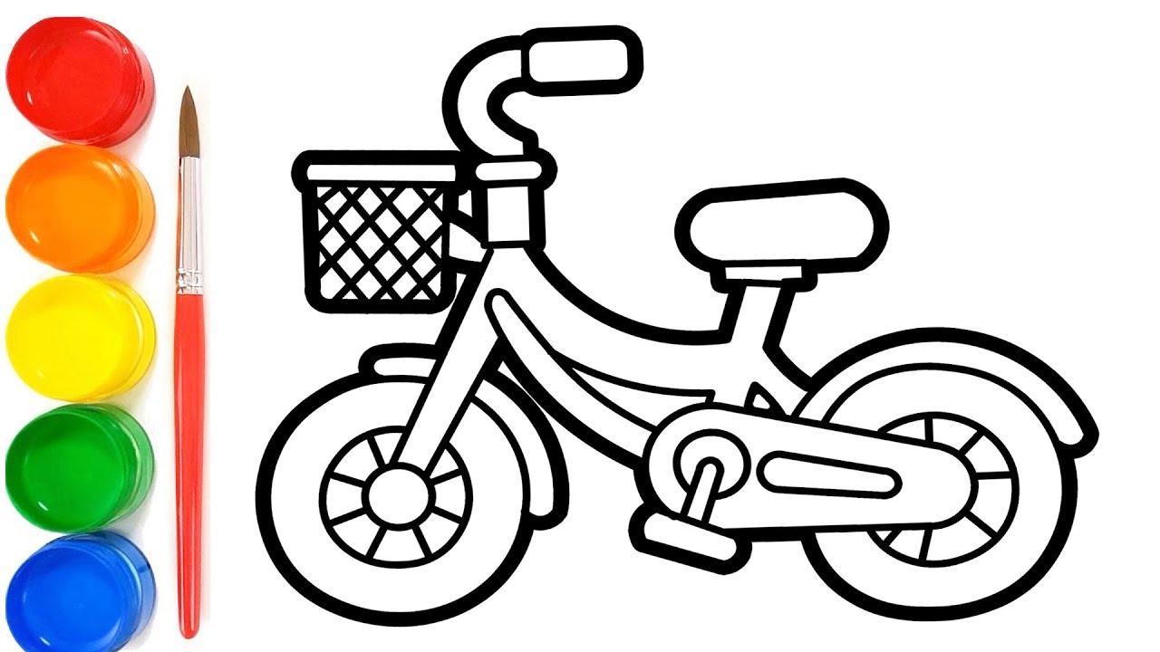 Cara Menggambar dan Mewarnai Sepeda | Belajar mewarnai anak paud