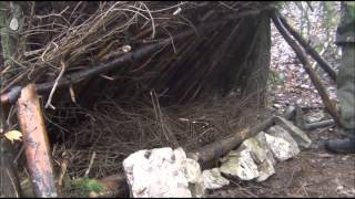 Primitive Survival Shelter  -- Lean-to Shelter And Long Fire