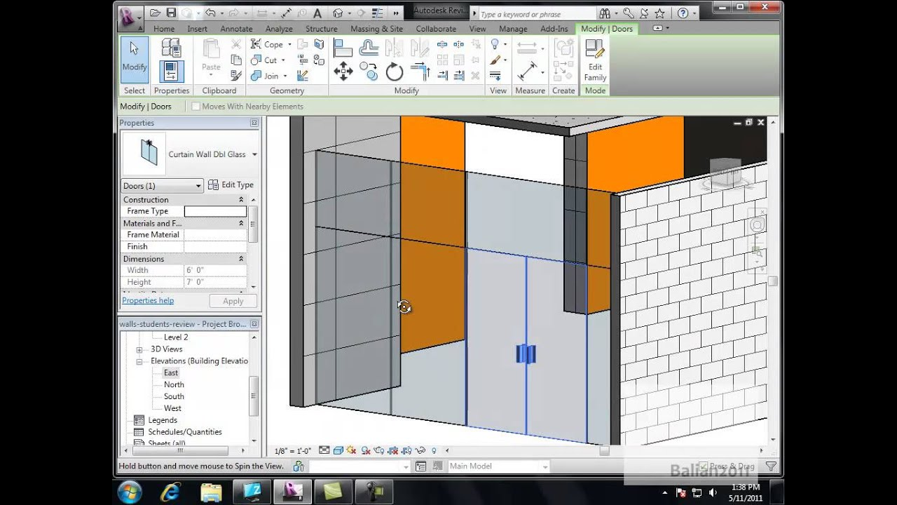Revit Autodesk Creating A Curtain Wall With Double Doors