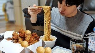60계치킨 신메뉴 윙봉세트 김밥 컵라면 치즈볼 먹방 A…