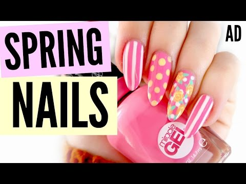 PINK AND YELLOW SPRING FLORAL NAIL TUTORIAL! | sophdoesnails