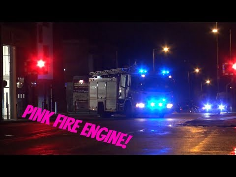 """lily-the-pink""-pink-cancer-awareness-fire-engine-turnout---merseyside-fire-&-rescue-service"