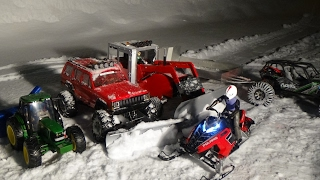 Rc snowmobile polaris rush,rc tractor with snow blower.truck snow plowing and tractor snow plowing.