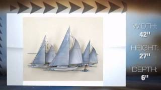 Fleet of Sailing Ships Handmade Nautical Metal Wall Art