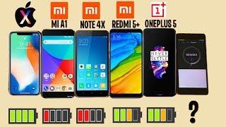 WHO LAST LONGER? iPhone X vs Xiaomi redmi 5 plus, note 4X, MI A1 vs ONEPLUS 5?